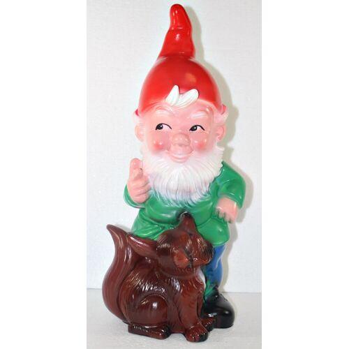 OM Gartenzwerg Figur Zwerg mit Fuchs H 42 cm stehend Gartenfigur aus Kunststoff