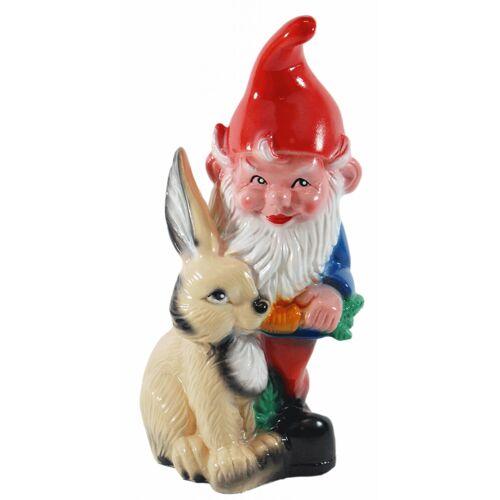 OM Gartenzwerg Figur Zwerg mit Hase H 30 cm stehend Gartenfigur aus Kunststoff