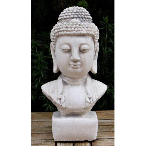 JS GartenDeko Beton Figur Staute Büste Buddha H 31 cm asiatische Dekofigur und Gartenskulptur