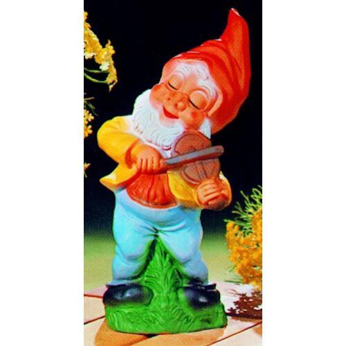 OM Gartenzwerg mit mit Geige Figur Zwerg H 31 cm Gartenfigur aus Kunststoff