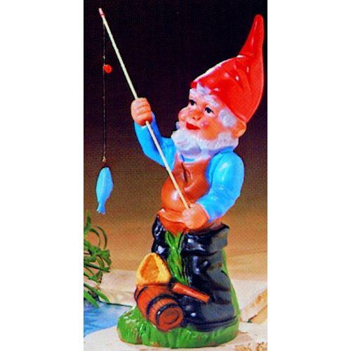 OM Gartenzwerg als Angler Figur Zwerg H 44 cm Gartenzwerg Gartenfigur aus Kunststoff