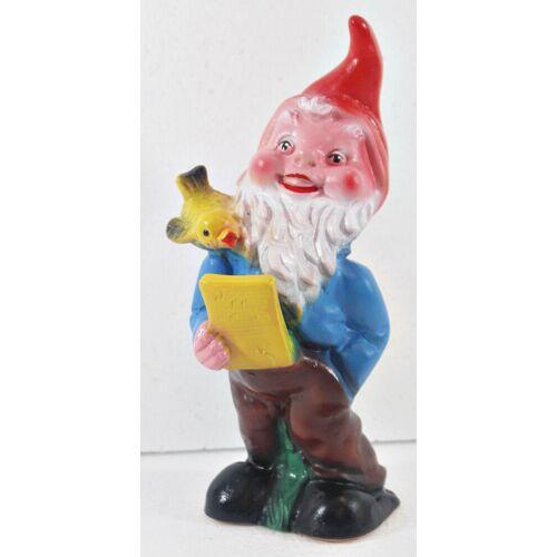OM Gartenzwerg mit Vogel Figur Zwerg H 20 cm Gartenfigur aus Kunststoff