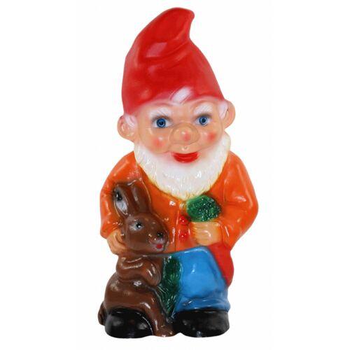 Rakso Deko Figur Zwerg H 28 cm Gartenzwerg stehend mit Hase und Rübe Gartenfigur aus Kunststoff