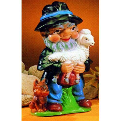 OM Gartenzwerg Schäfer Figur Zwerg mit Lämmchen und Hund H 32 cm Gartenzwerg aus Kunststoff