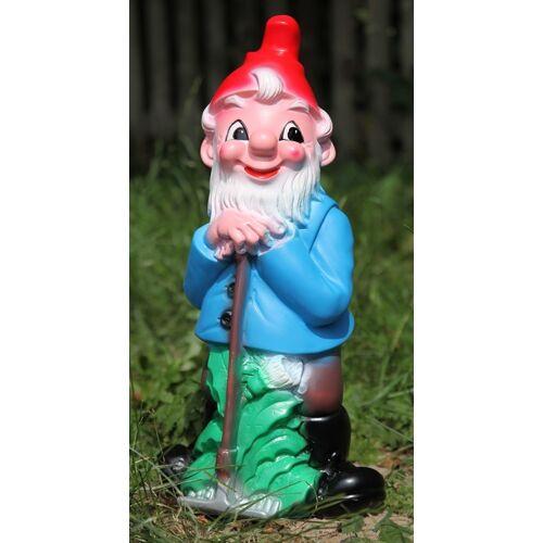 OM Gartenzwerg mit Harke Figur Zwerg Gärtner H 45 cm Gartenfigur aus Kunststoff