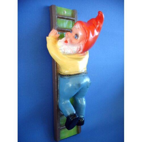 Rakso Gartenzwerg auf Leiter Figur Zwerg H 34 cm aus Kunststoff