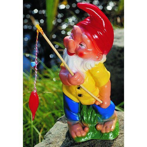OM Gartenzwerg als Angler Figur Zwerg H 33 cm Gartenzwerg Gartenfigur aus Kunststoff