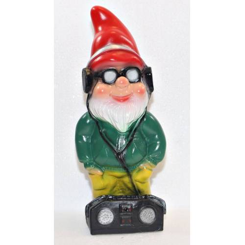 Rakso Gartenzwerg stehend Cool Zwerg mit Radio und Brille H 34 cm Scherz Bewegungsmelder Pfiff Ha-Ha