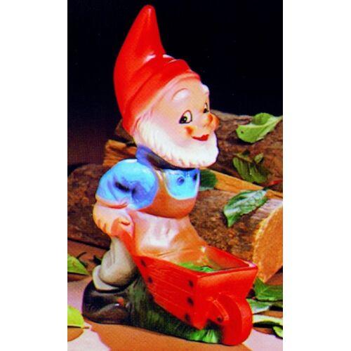 OM Gartenzwerg mit Schubkarre Figur Zwerg H 29 cm Gartenfigur aus Kunststoff