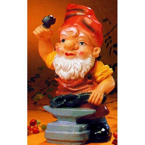 OM Gartenzwerg als Schmied Figur Zwerg H 17 cm Gartenfigur aus Kunststoff