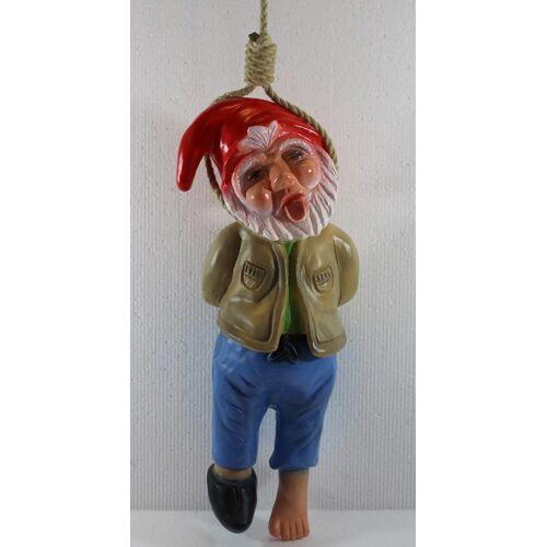 Rakso Gartenzwerg Deko Garten Figur Zwerg erhängt mit Seil umschlingt H 37 cm ohne Seil aus Kunststoff