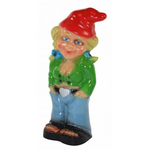 Rakso Gartenzwerg Deko Garten Figur Zwerg Zwergenfrau stehend Cool aus Kunststoff H 32 cm