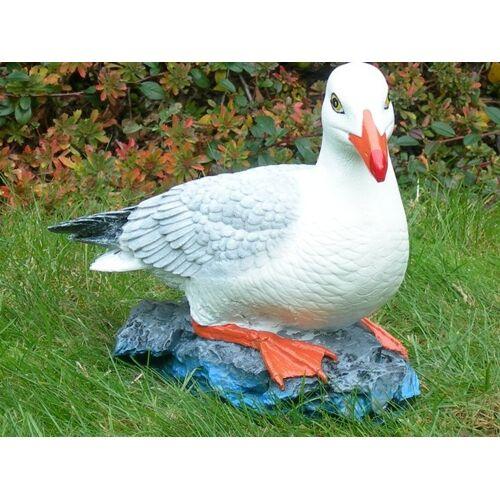 JS GartenDeko Dekorationsfigur Möwe sitzend H 25 cm Vogelfigur aus Kunstharz