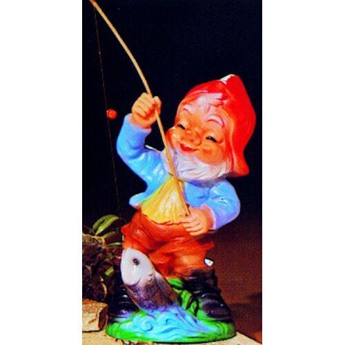 OM Gartenzwerg Deko Garten Figur Zwerg Angler mit Angel u. Fisch Gartenfigur aus Kunststoff H 31 cm