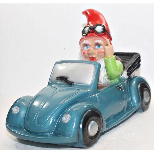 Rakso Gartenzwerg Verkehrsrowdy im Auto sitzend Stinkefigner H 23 cm Scherz Bewegungsmelder Pfeifen