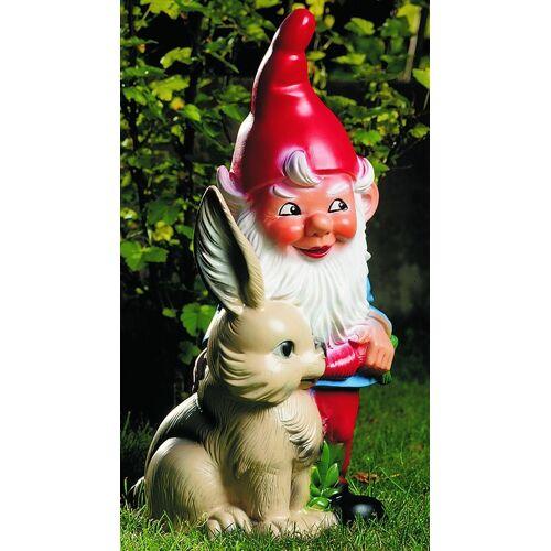 OM Gartenzwerg mit Hase Figur Zwerg H 38 cm Gartenfigur aus Kunststoff