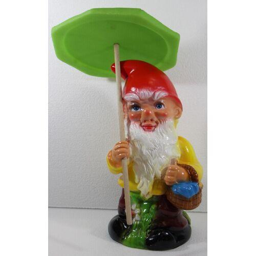 Rakso Gartenzwerg Deko Garten Figur Zwerg stehend mit Schirm und Korb aus Kunststoff H 37 cm