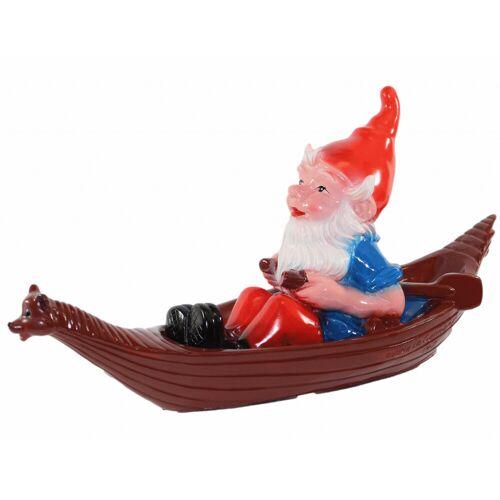 OM Gartenzwerg im Boot schwimmend Figur Zwerg H 27 cm Teichfigur Gartenfigur aus Kunststoff