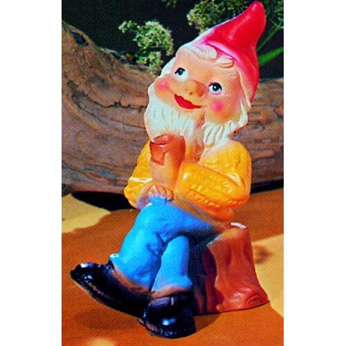 OM Gartenzwerg mit Pfeife Figur Zwerg H 20 cm Gartenfigur aus Kunststoff