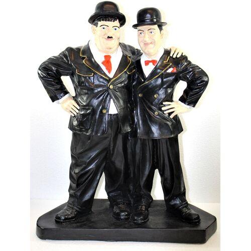 JS GartenDeko Dekorationsfiguren Komiker Dick und Doof Freunde H 51 cm stehend auf Sockel Deko Figuren Kunstharz