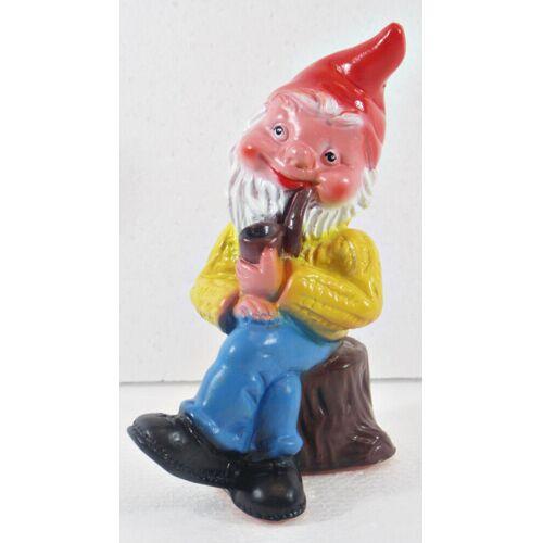 OM Gartenzwerg Figur Zwerg H 17 cm mit Pfeife sitzend Gartenfigur aus Kunststoff