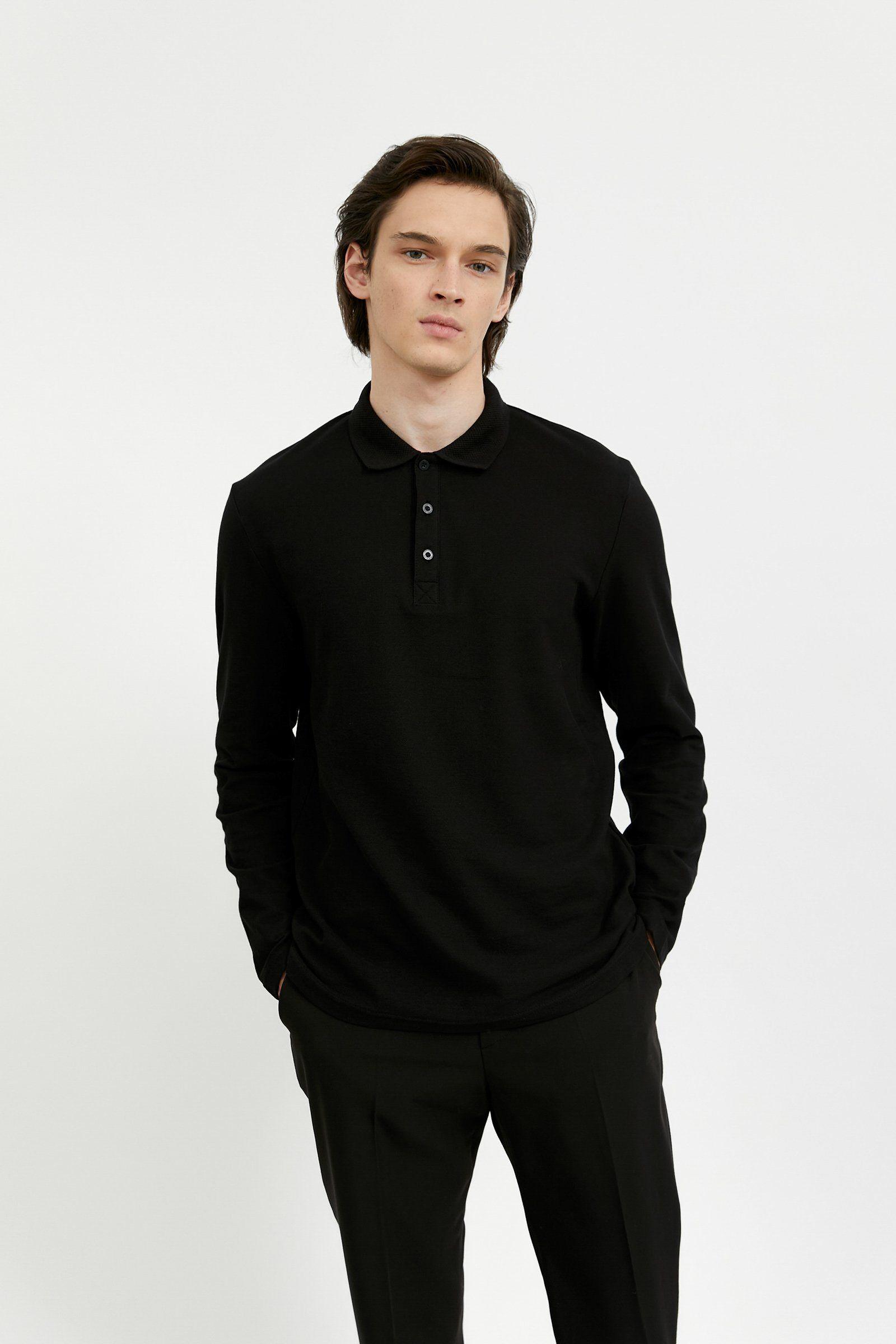 Finn Flare Langarmshirt mit schickem Polokragen, schwarz