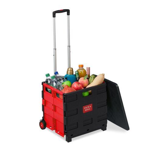 relaxdays Einkaufstrolley »Klappbarer Einkaufstrolley«, Rot