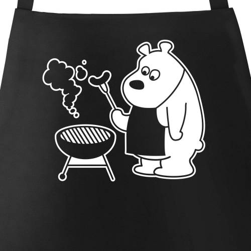 MoonWorks Grillschürze »Grill-Schürze für Männer mit grillendem Bär - Bear Grills ®«, mit kreativem Aufdruck