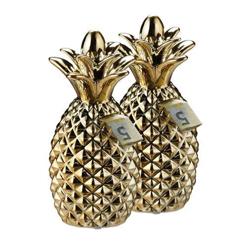 relaxdays Spardose »2 x Spardose Ananas gold«