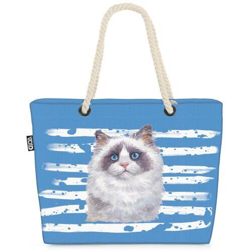 VOID Strandtasche (1-tlg), Katze Siam Haustier Cat Hauskatze Tier, blau