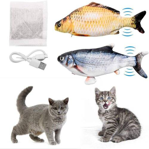 kueatily Beißring »Katzenspielzeug Fisch 2 Stück Elektrisches interaktives Katzenspielzeug mit Katzenminze - Fischspielzeug zum Spielen, Beißen, Kauen mit USB-Aufladung«