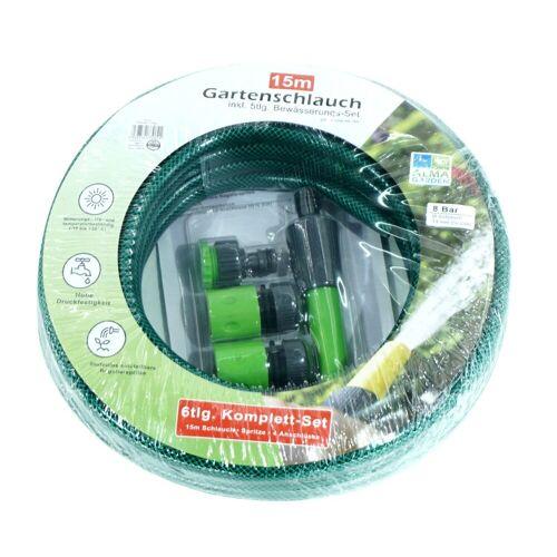 dynamic24 Schlauch, 6tlg. Set Gartenschlauch 15m 1/2 Zoll + Anschlüsse Garten Spritze Wasserschlauch