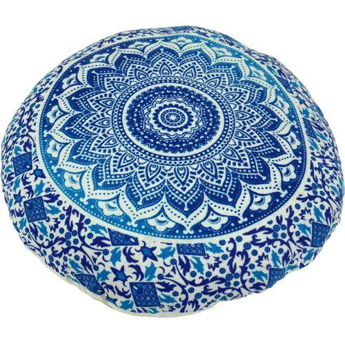 Guru-Shop Meditationskissen »Flaches Mandala Meditationskissen, Yoga Kissen,..«, blau