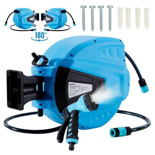 Arebos Schlauchaufroller »Gartenschlauchaufroller Gartenschlauch Wasserschlauch Schlauch 15 M«, (Set), blau