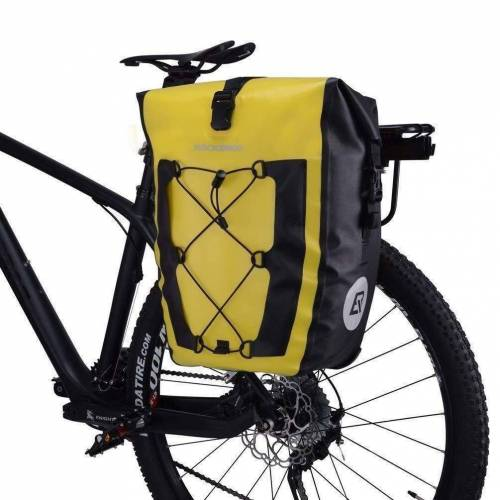 ROCKBROS Fahrradtasche »Fahrradtasche Pack- Gepäckträgertasche 100% Wasserdicht 20/27Liter, gelb«, Abnehmbar
