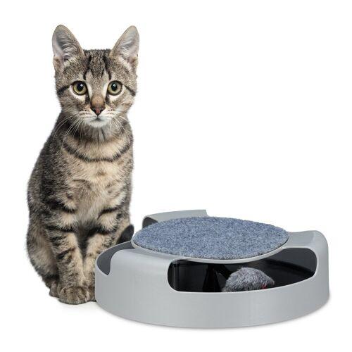 relaxdays Tier-Kugelbahn »Katzenspielzeug Kugelbahn mit Maus«, PP, Grau