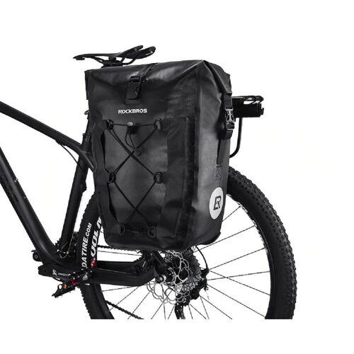 ROCKBROS Fahrradtasche »Fahrradtasche Pack- Gepäckträgertasche 100% Wasserdicht 20/27Liter, schwarz«, Abnehmbar