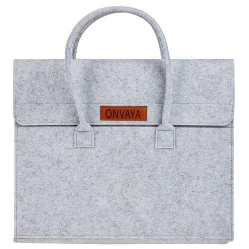 ONVAYA Laptoptasche »Filztasche grau, Laptoptasche aus Filz, Notebooktasche mit 3 Fächern, Filzhülle mit Henkeln«