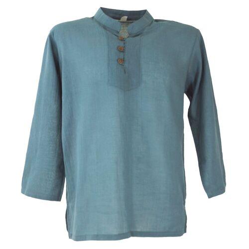 Guru-Shop Hemd & Shirt »Yoga Hemd, Goa Hemd - taubenblau«, taubenblau