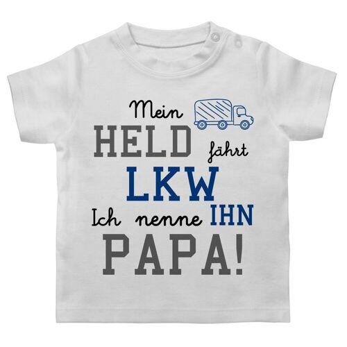 Shirtracer T-Shirt »Mein Held fährt LKW - Statement Sprüche Baby - Baby T-Shirt kurzarm« Spruch Sprüchen Spruchshirt, 2 Weiß