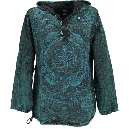 Guru-Shop Hemd & Shirt »Yoga Hemd, Goa Hemd Om, Sweatshirt - petrol«, petrol
