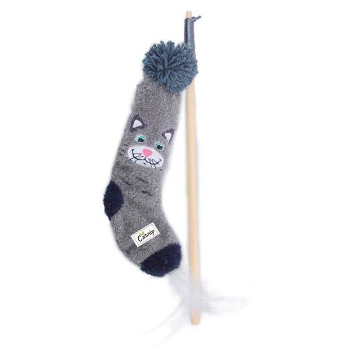 PETGARD Katzenangel »Katzenangel Spielangel Katzenspielzeug«, Katzen-Socke mit Holzstab und Katzenminze