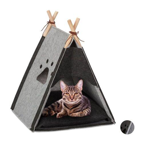 relaxdays Katzenzelt »Katzenzelt aus Filz«, Grau