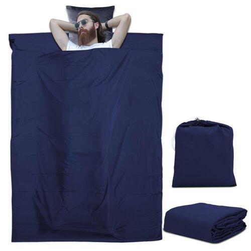 Intirilife Schlafsack »Schlafsack Reiseschlafsack Kissen Decke«, Dünner Hüttenschlafsack Reiseschlafsack, Blau