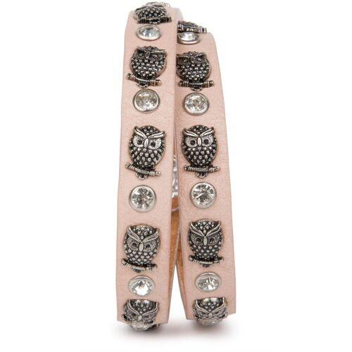 styleBREAKER Wickelarmband »Armband mit Eulen Nieten & Strass«, Armband mit Eulen Nieten & Strass, Rose