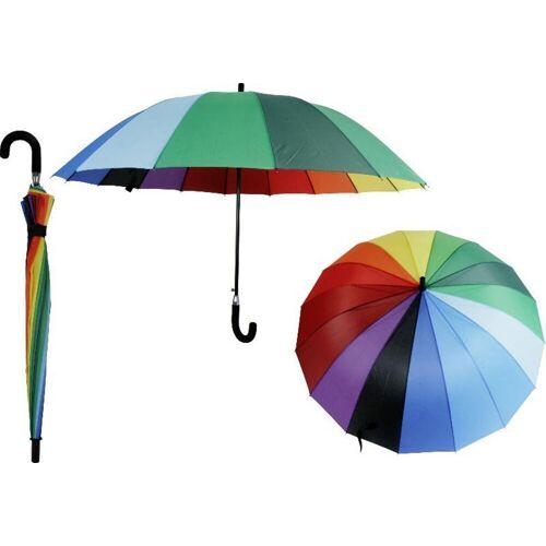 dynamic24 Partnerschirm, XXL Regenschirm 135cm Partnerschirm 2 Personen Schirm Familie Regenbogen bunt