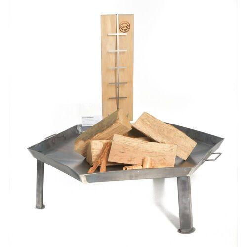 acerto® Feuerstelle »Massive Feuerschale 55cm + 1 Flammlachsbrett + 5 Stk. Kaminholz Buche«