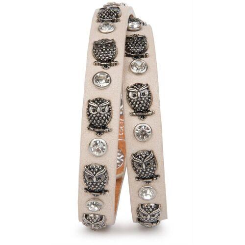 styleBREAKER Wickelarmband »Armband mit Eulen Nieten & Strass«, Armband mit Eulen Nieten & Strass, Creme-Beige