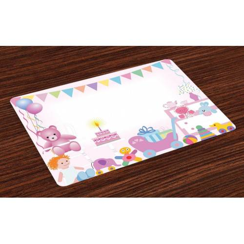 Abakuhaus Tischdecke, »Waschbare Stoff Esszimmer Küche Tischdekorations Digitaldruck«, , (4-teilig, 4 Teilig-St., Set aus 4x), Geburtstag Baby-Geburtstag