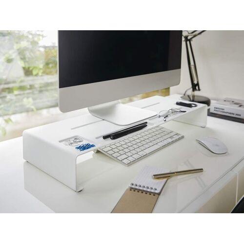 Yamazaki »Tower« Monitor-Halterung, (Schreibtischaufsatz, Monitorerhöhung, Bildschirm Ablage), weiß